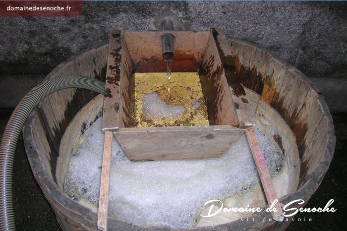 Le premier jus coule, passe à travers un tamis pour retenir les peaux, la pulpe ou les pépins et est ensuite envoyer à l'aide d'une pompe dans la cuve de décantation ou de débourbage.